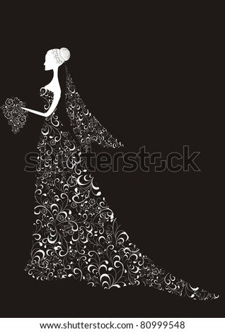 Beautiful bride with floral dress and veil - stock photo
