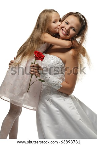 beautiful bride with little girl in white dress and red rose in hand isolated on white - stock photo