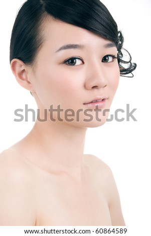 Beautiful bride with perfect natural makeup,smiling - stock photo