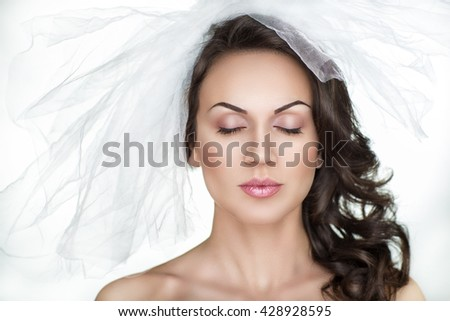Beautiful bride woman girl lady princess prepare for wedding - white long veil big bow. Professional make up bright eyes, pink lips lipstick, brunette black hair. background clipping, vertical banner