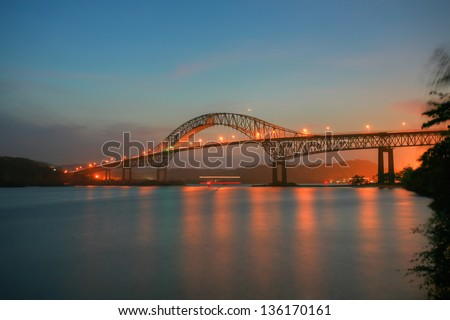 Beautiful bridge connected South and North Americas (Puente de las Americas Panama) - stock photo