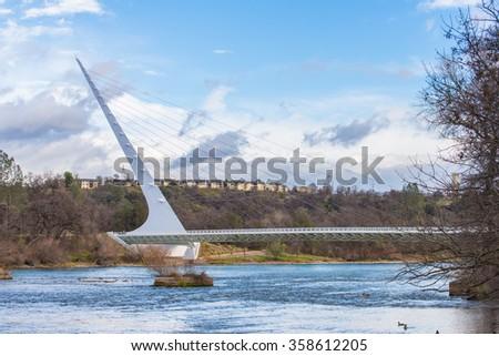 Beautiful bridge landmark in California, Sundia Bridge - stock photo