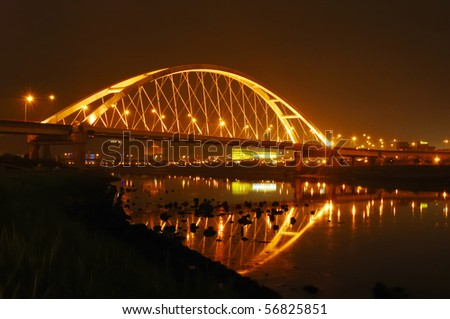 beautiful bridge of taipei in the night