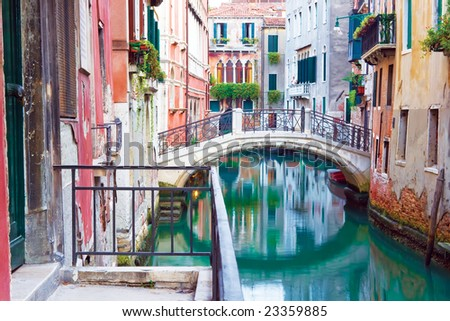 Beautiful bridge over a canal in Venice, Italy - stock photo