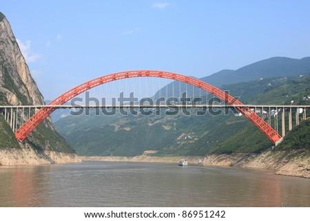 Beautiful bridge over yangtze river china - stock photo