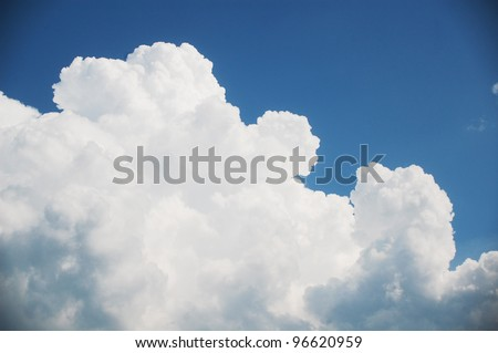 beautiful bright clouds on the summer sky - stock photo