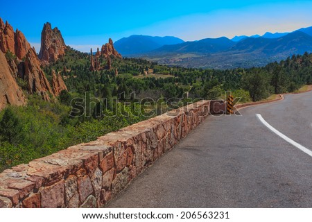 Beautiful Bright Image of  the Garden of the Gods - stock photo