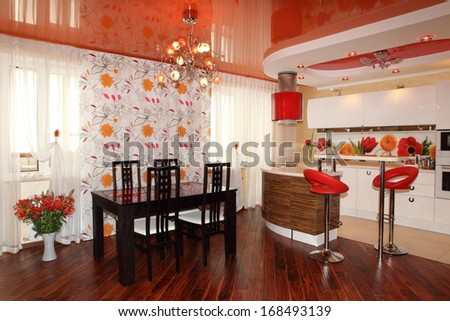 Beautiful bright kitchen-dining room in beautiful registration  - stock photo