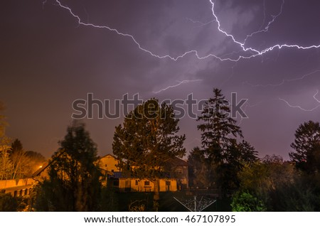 beautiful bright lightning with thunderstorms in the night