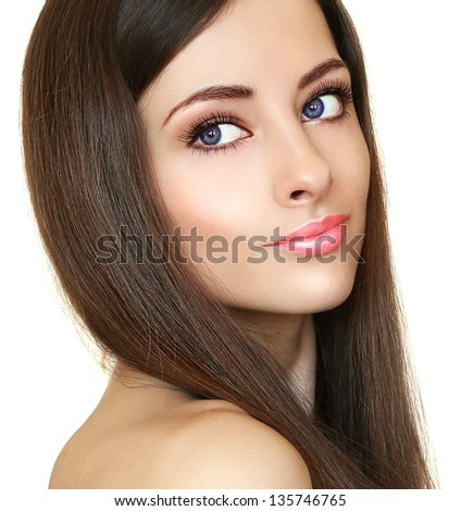 Beautiful bright makeup woman looking. CLoseup portrait - stock photo