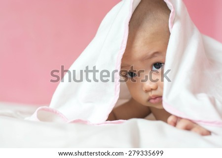 beautiful bright portrait of adorable baby  - stock photo