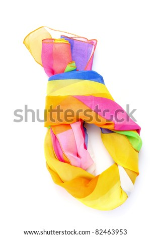 beautiful bright scarf isolated on white