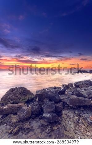 beautiful bright seascape after sunset - stock photo