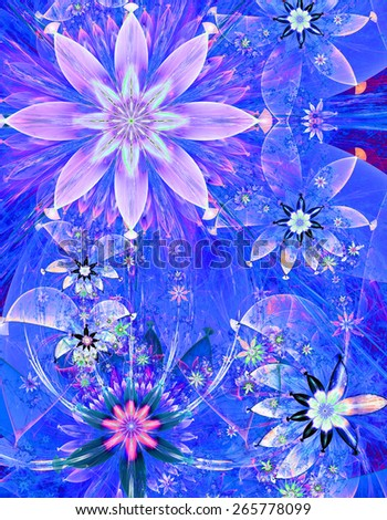 Beautiful bright shining modern high resolution flower field background with a detailed decorative flower pattern creating an original flower field, all in pink and blue - stock photo