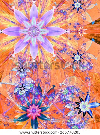 Beautiful bright shining modern high resolution flower field background with a detailed decorative flower pattern creating an original flower field, all in yellow,orange,pink,blue - stock photo