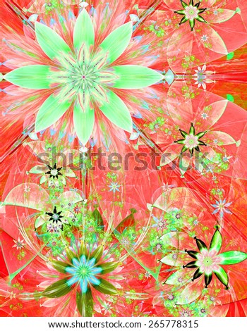 Beautiful bright shining modern high resolution flower field background with a detailed decorative flower pattern creating an original flower field, all in green,blue,red - stock photo