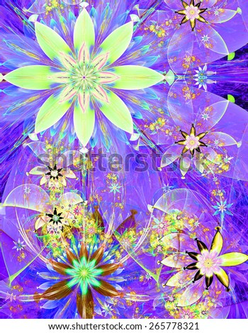 Beautiful bright shining modern high resolution flower field background with a detailed decorative flower pattern creating an original flower field, all in green,blue,purple,yellow - stock photo