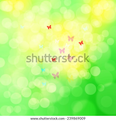 Beautiful bright spring color bokeh abstract illustration with blurry butterflies. - stock photo