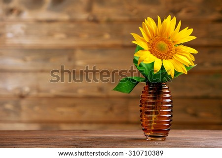 Beautiful bright sunflower in vase on wooden background - stock photo