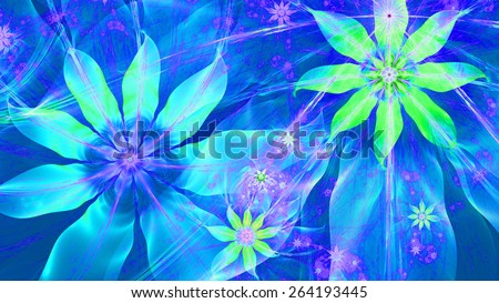 Beautiful bright vivid modern high resolution flower background with a detailed flower pattern with plastic natural looking 3D leaves, all in high resolution and in blue,green,pink - stock photo