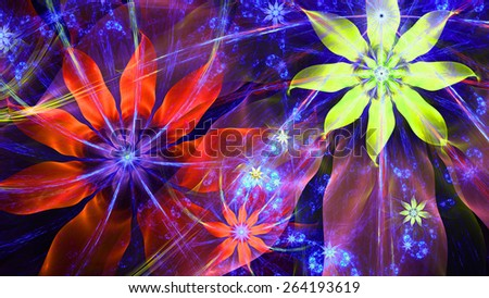 Beautiful bright vivid modern high resolution flower background with a detailed flower pattern with plastic natural looking 3D leaves, all in high resolution and in red,pink,yellow-green,blue - stock photo