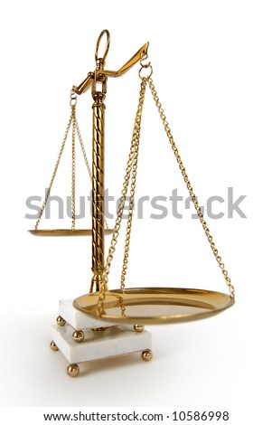 Beautiful bronze and marble vintage balance scale - stock photo