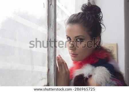 beautiful brown and sensual girl  - stock photo
