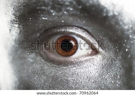 beautiful brown eyes male closeup - stock photo