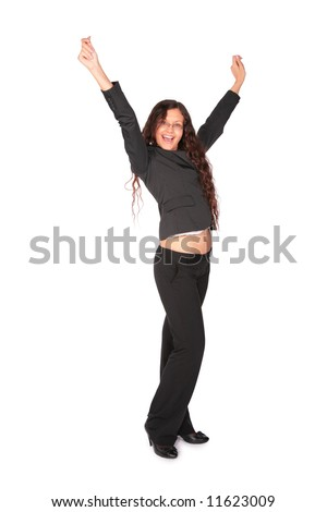 beautiful brown-haired woman with raised hands