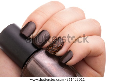 Beautiful brown nails close up. - stock photo