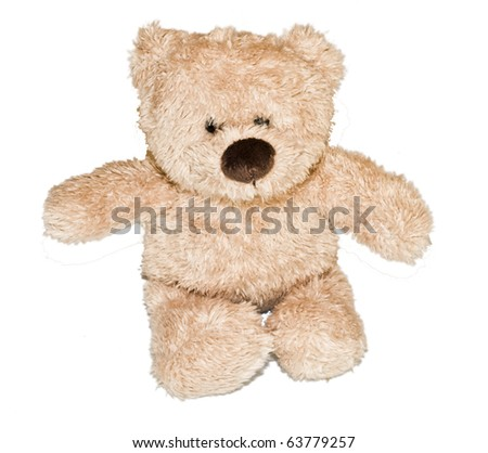 Beautiful, brown teddybear isolated on white background - stock photo