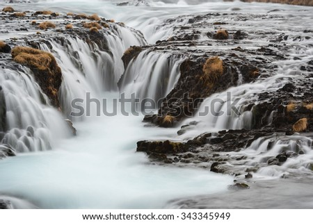 Beautiful Bruarfoss waterfall in Iceland - stock photo