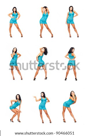 Beautiful brunet girl in different poses isolated on white background - stock photo
