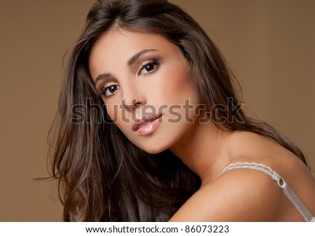 beautiful brunette - stock photo