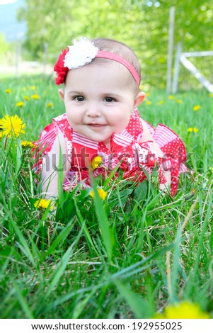 Beautiful brunette baby girl sitting in a field - stock photo