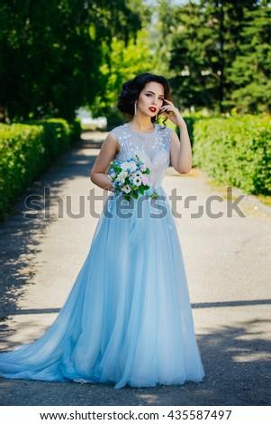 Beautiful Brunette Bride Luxurious Wedding Dress Stock Photo ...