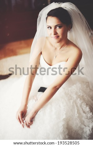 Beautiful brunette bride is getting ready in the morning. - stock photo
