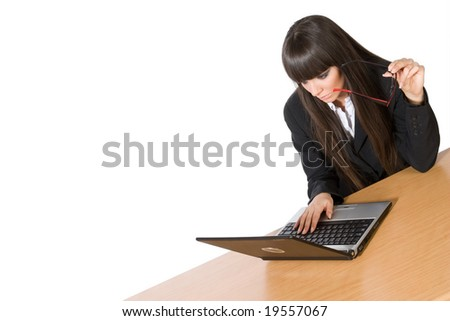 Beautiful brunette business woman with laptop isolated on white
