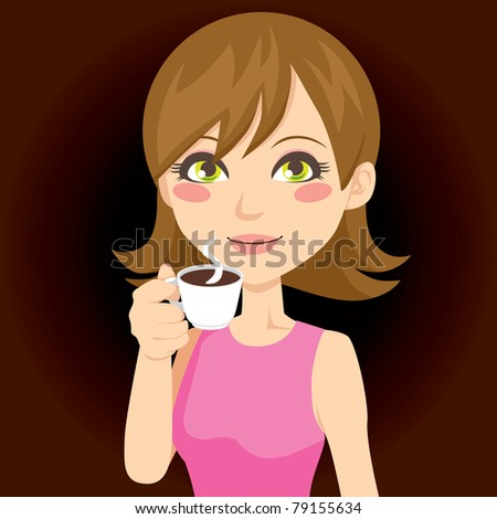 Beautiful brunette drinking a cup of hot black coffee - stock photo