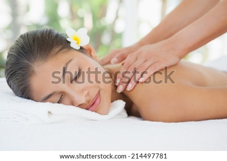 Beautiful brunette enjoying a shoulder massage at the health spa - stock photo