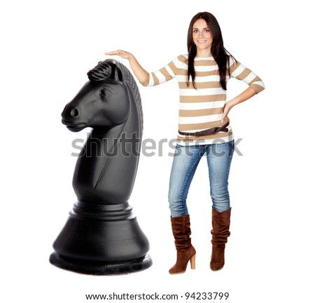 Beautiful brunette girl and a big chess knight isolated on a over white background - stock photo