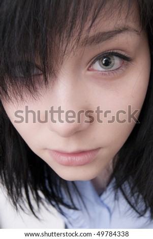 Beautiful Brunette Girl close up portrait - stock photo