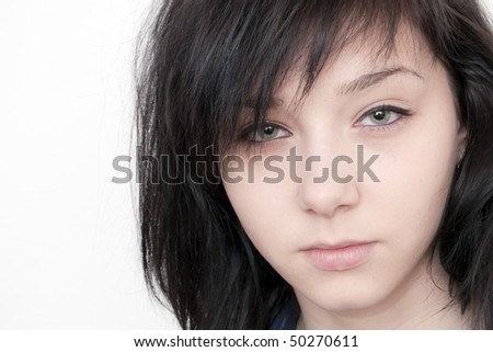 Beautiful Brunette Girl green eyes - stock photo