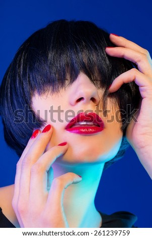 Beautiful Brunette Girl. Healthy Black Hair. bob Haircut. red lips. beauty woman - stock photo