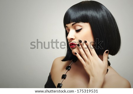 Beautiful Brunette Girl. Healthy Black Hair. Retro Haircut.your text here - stock photo