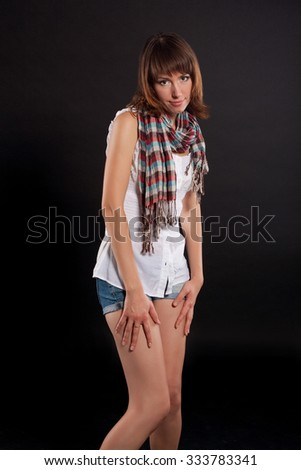 Beautiful Brunette Girl. Healthy Long Hair. brown-haired woman - stock photo