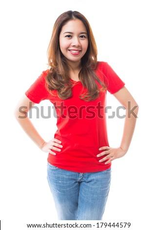 Beautiful Brunette Girl Jeans White Tshirt Stock Photo 111004049 ...
