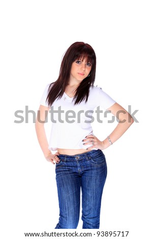 Beautiful brunette girl in jeans and white t-shirt - stock photo