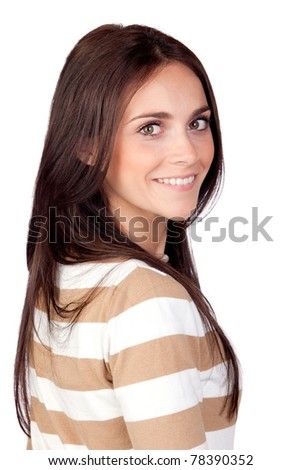 Beautiful brunette girl isolated on a over white background - stock photo