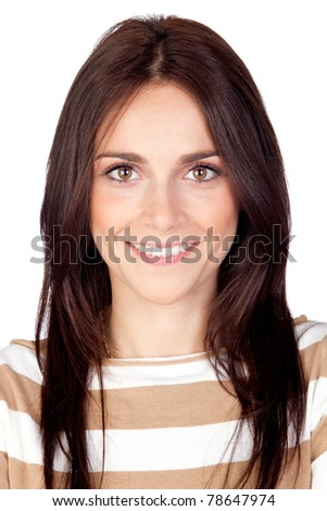 Beautiful brunette girl isolated on a over white background